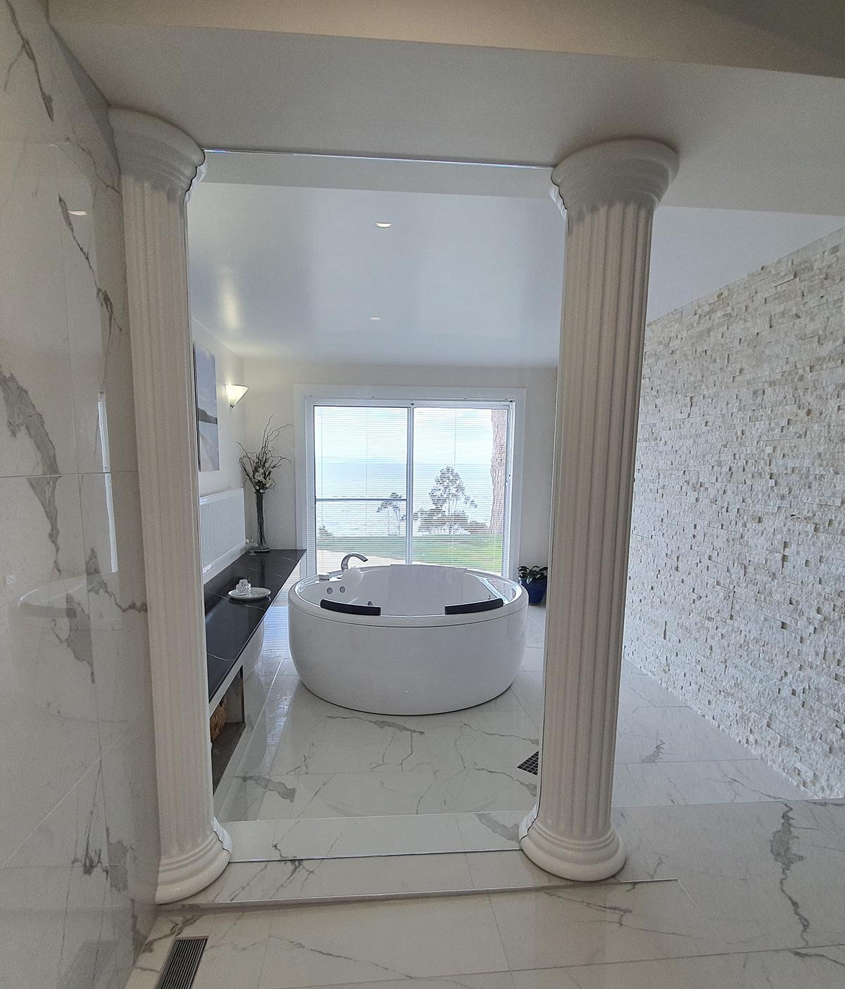 indoor bathroom columns roman style bath gold coast Australia
