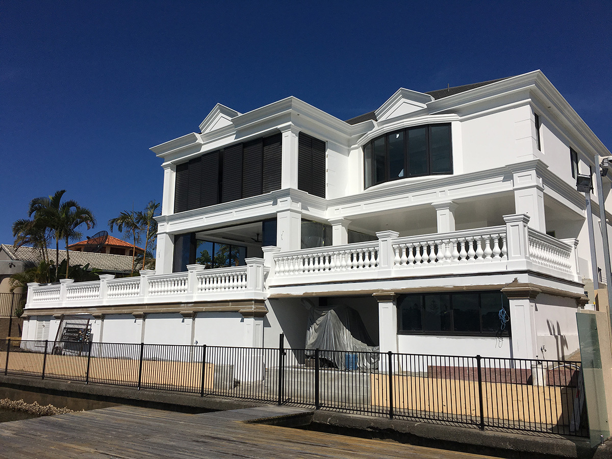French Provincial style soffit balcony and external building mouldings gold coast