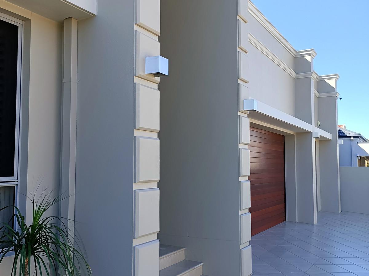 Modern home exterior fascia features blockwork gold coast